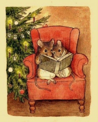 Two mice are reading a book on a coach